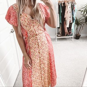 Cinq a Sept Jessica Floral Midi Dress Multi Pink